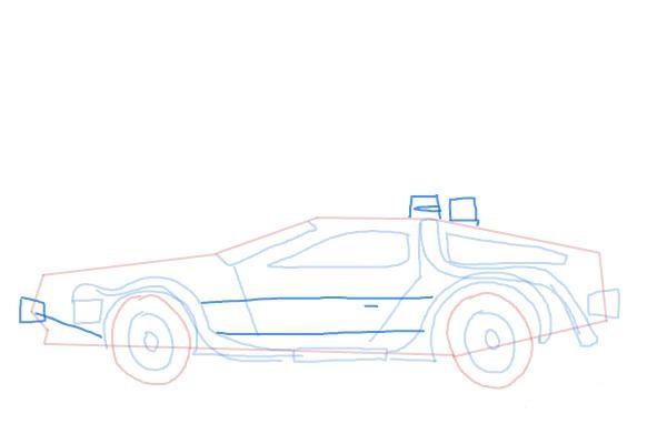Как нарисовать машину из назад в будущее 8