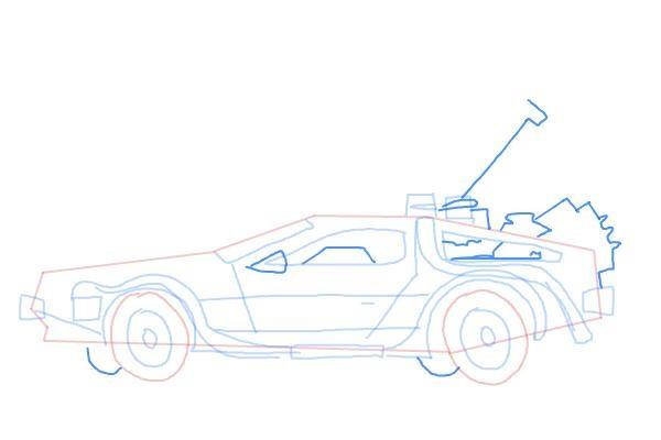 Как нарисовать машину из назад в будущее 9