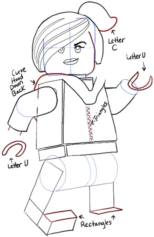 Как нарисовать Дикарку из лего 16