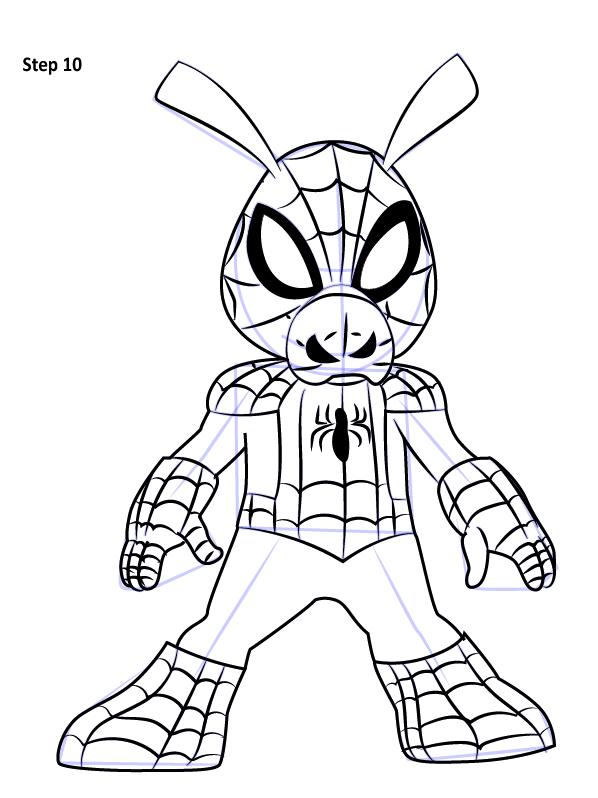 Рисуем Свина паука 10