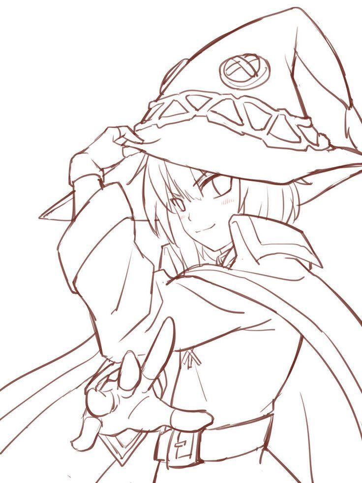 Срисовка раскраска Мегумин 13