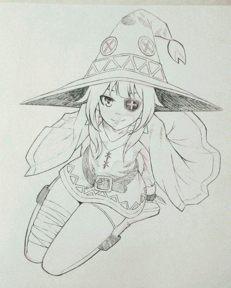 Срисовка раскраска Мегумин 2