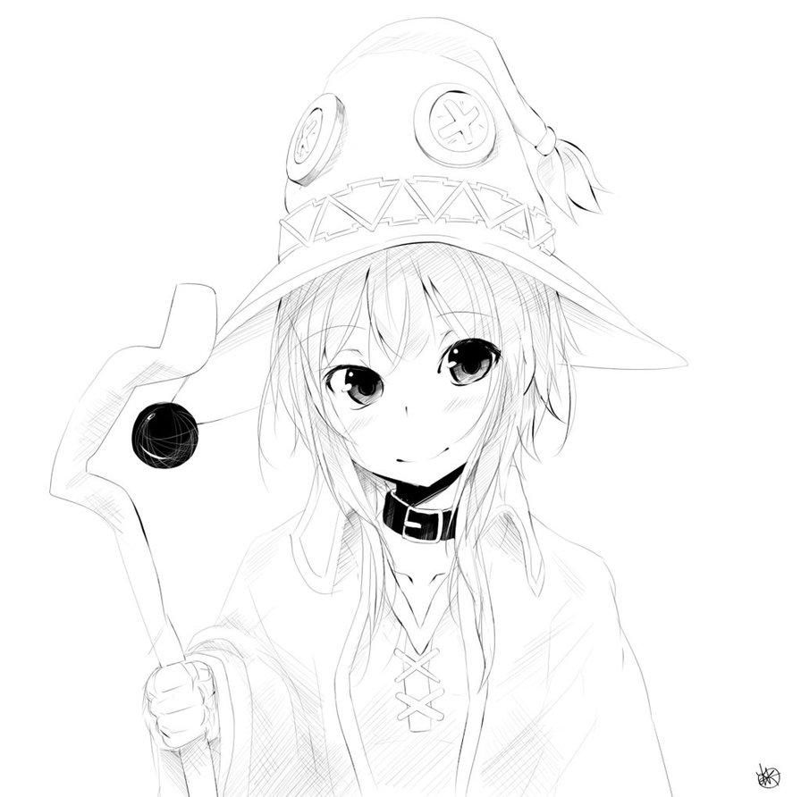 Срисовка раскраска Мегумин 3