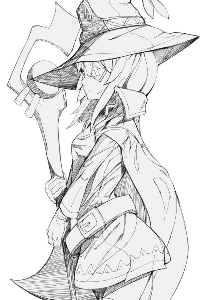 Срисовка раскраска Мегумин 7