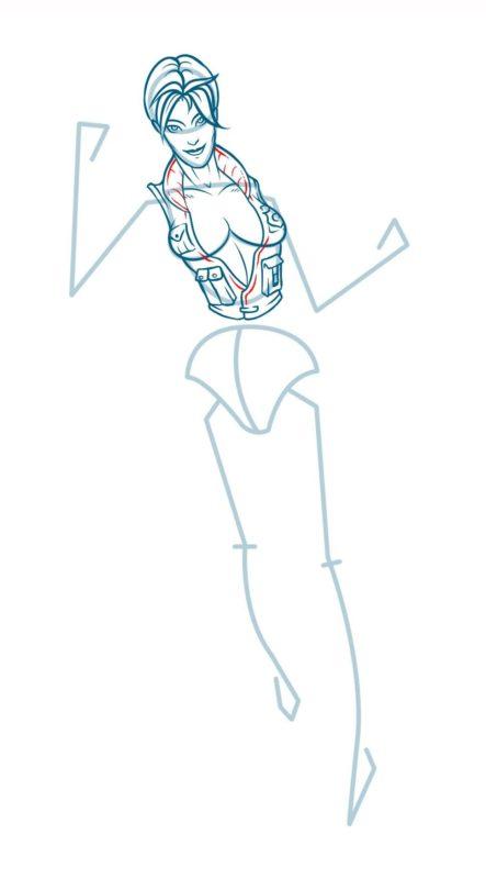 Как нарисовать Соню Блейд 9