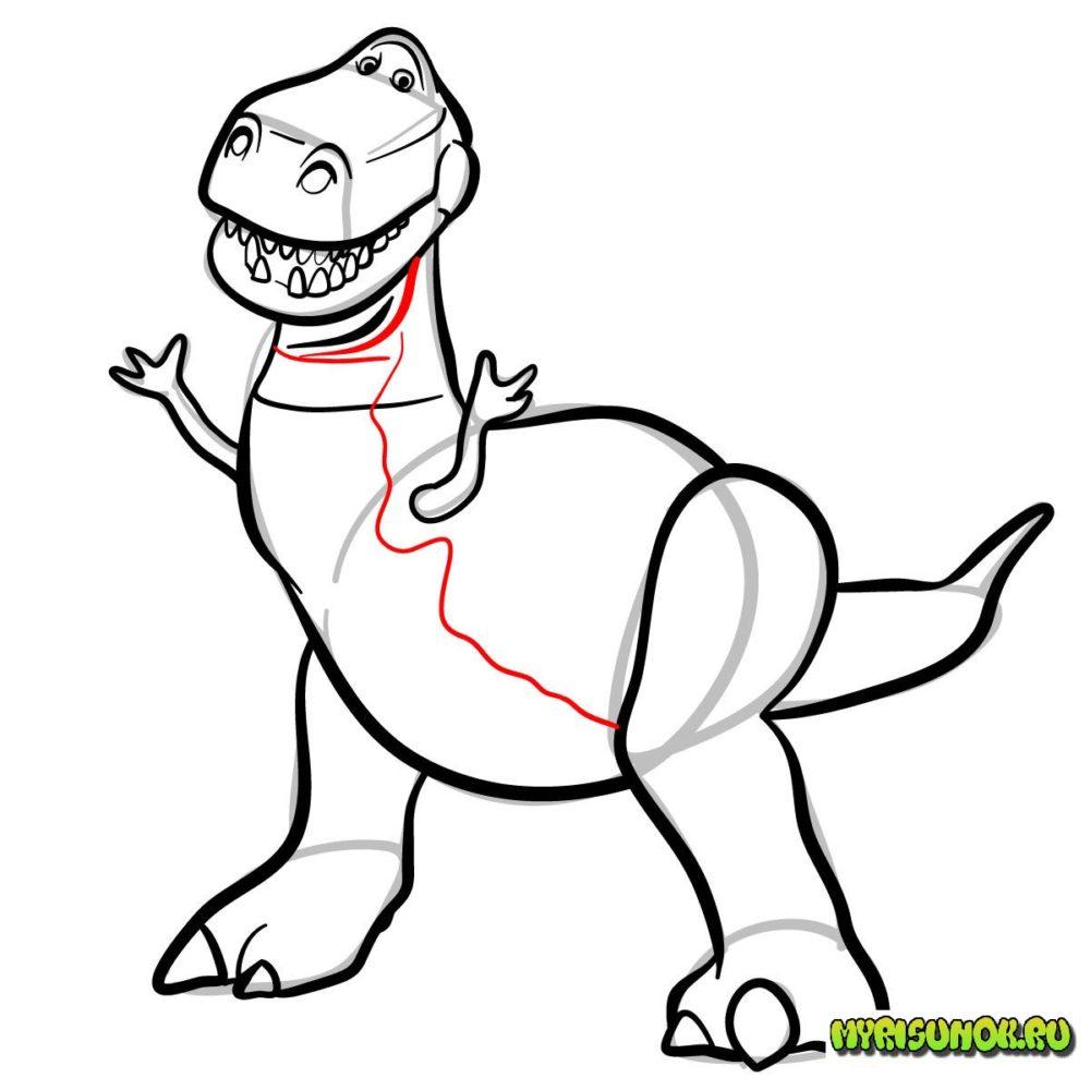 Как нарисовать Рекса История игрушек 11