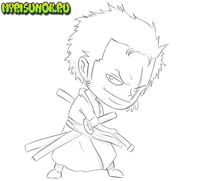 как нарисовать самурая 6