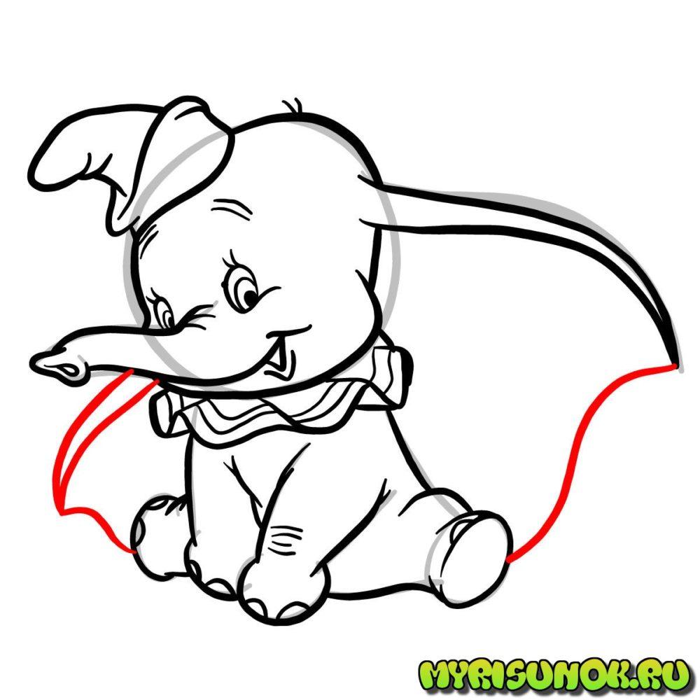 Рисунок слона Дамбо 10