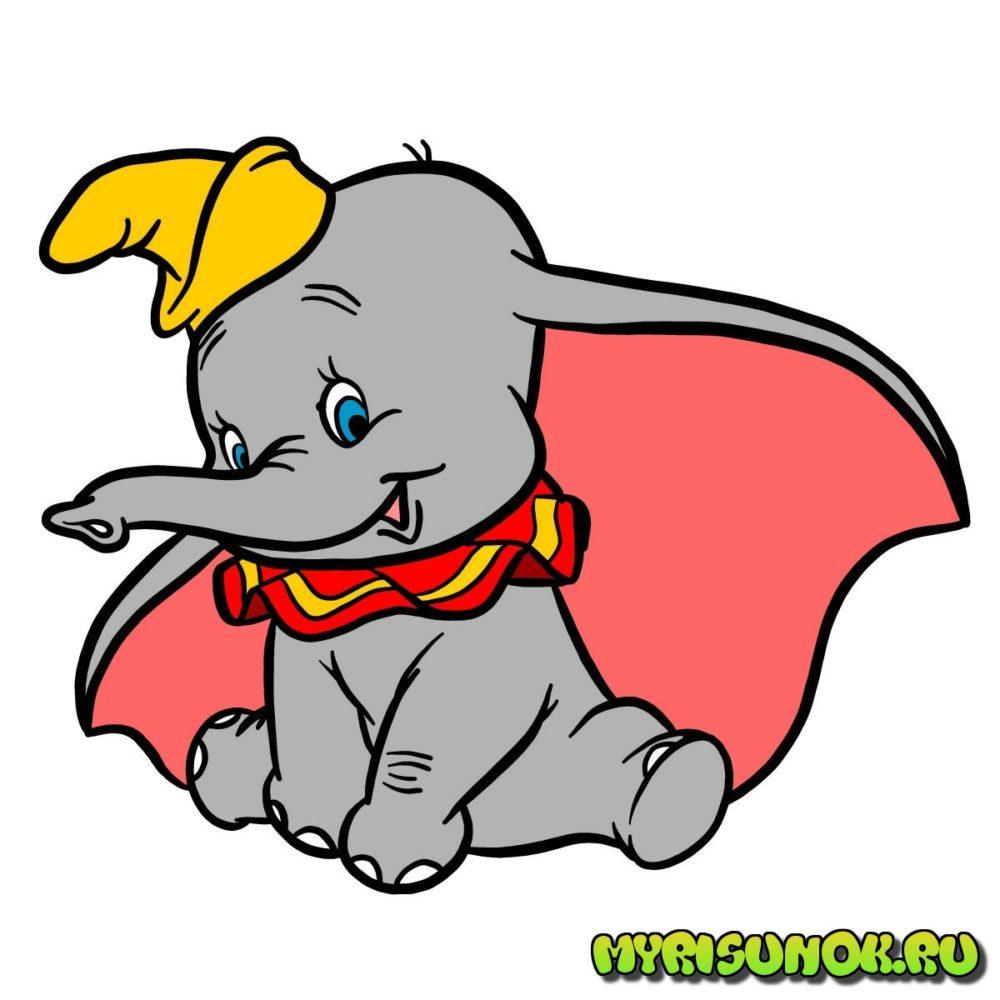 Рисунок слона Дамбо 11