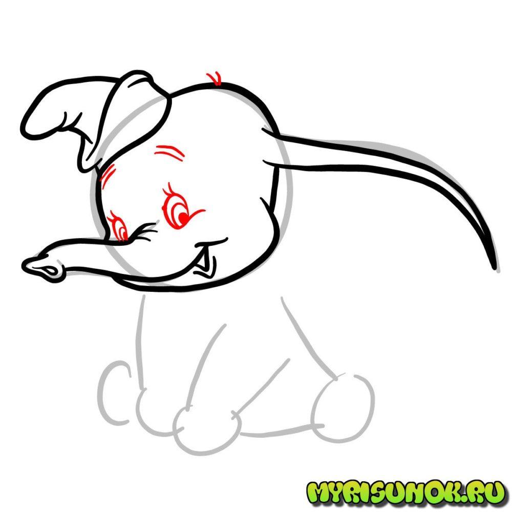 Рисунок слона Дамбо 4