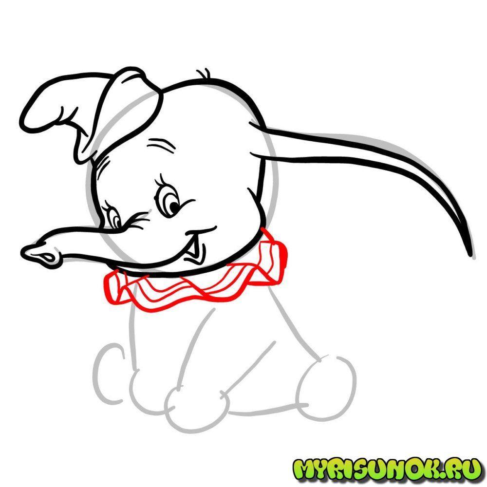 Рисунок слона Дамбо 5