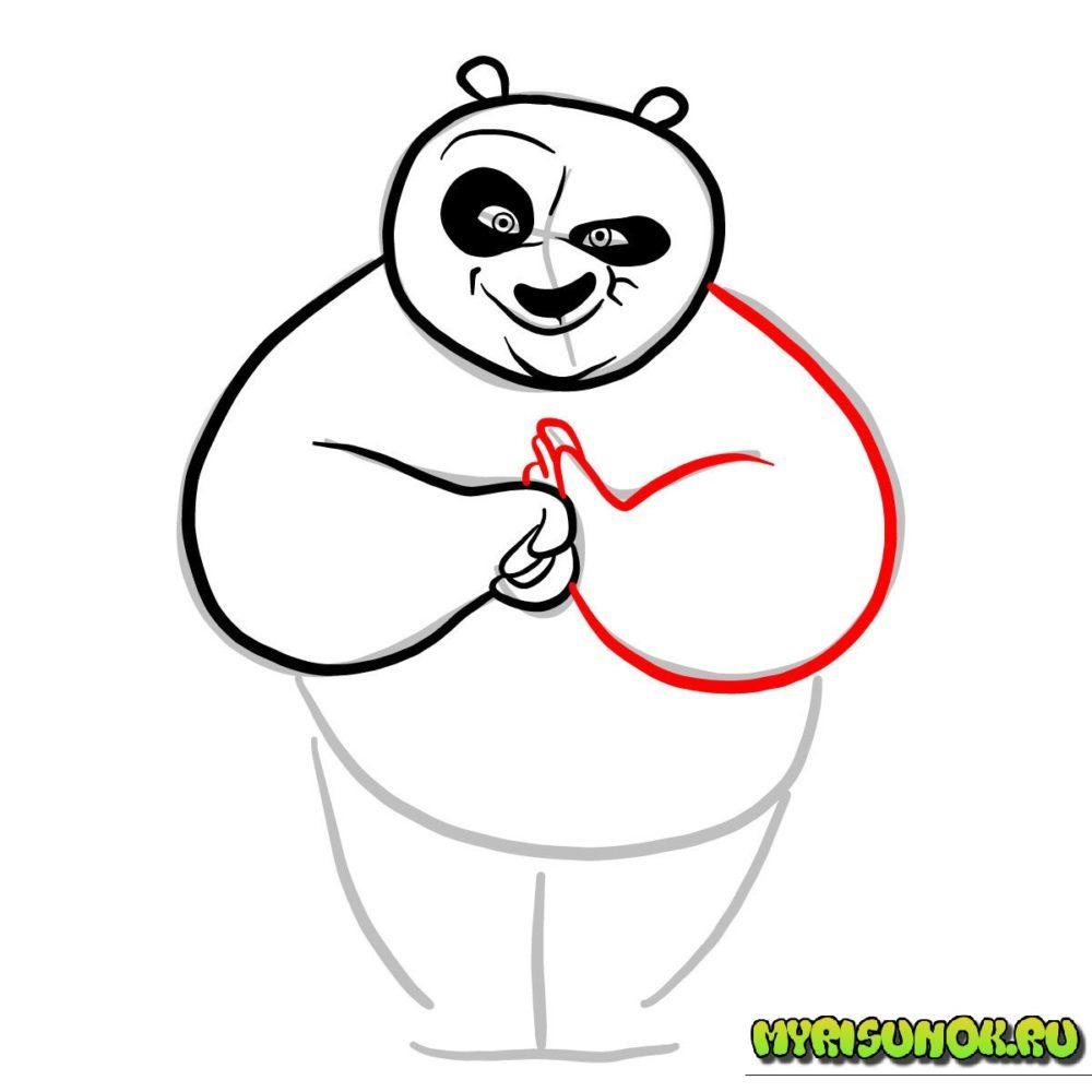 как нарисовать Кунгфу панду 5