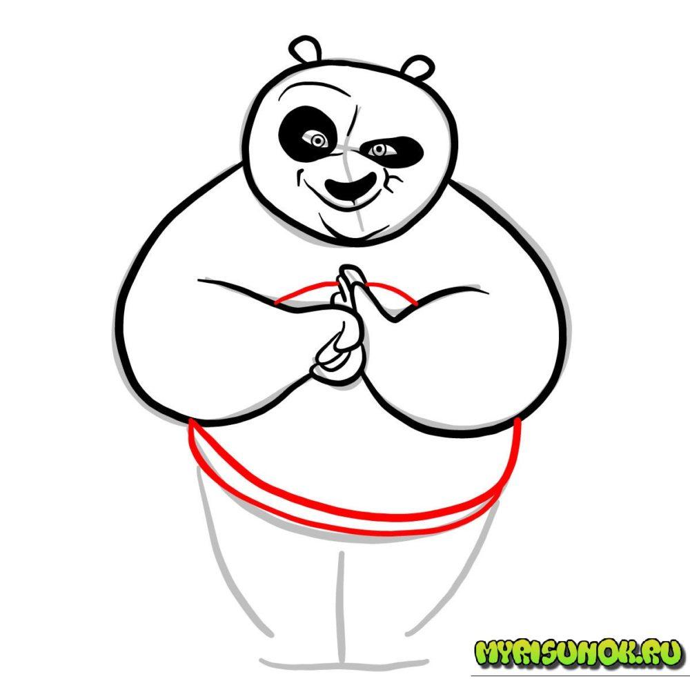 как нарисовать Кунгфу панду 6