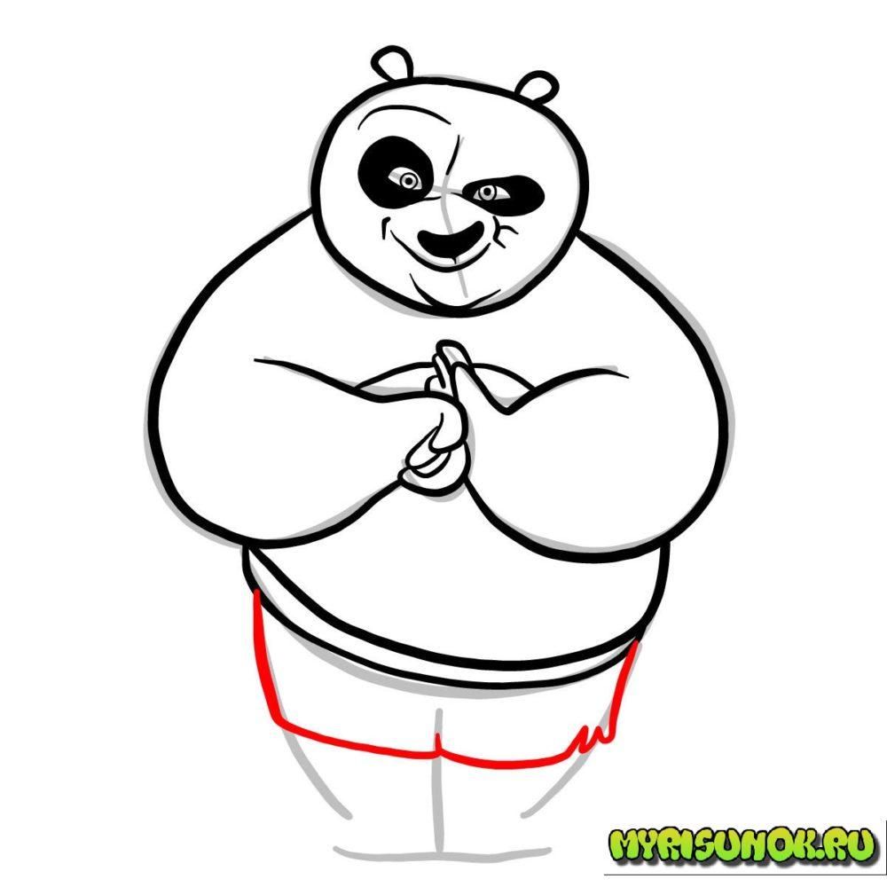как нарисовать Кунгфу панду 7