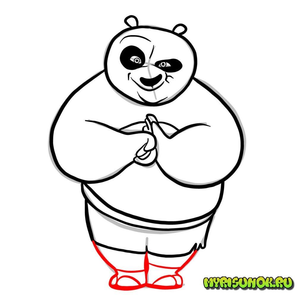 как нарисовать Кунгфу панду 8
