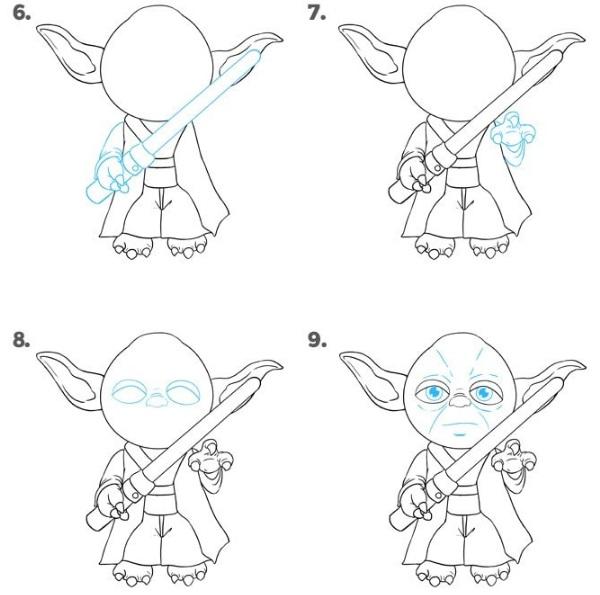 как нарисовать Йоду 3