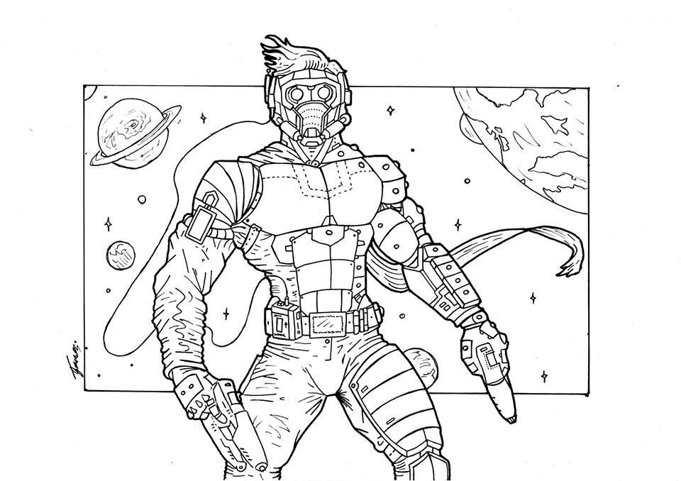 как срисовать Звездного лорда 19