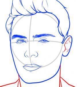 Как нарисовать Зака Эфрона 9