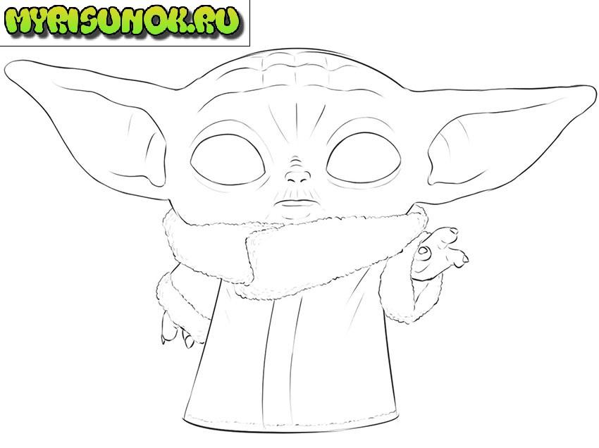Рисуем малыша Йода 10
