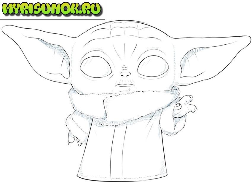 Рисуем малыша Йода 11