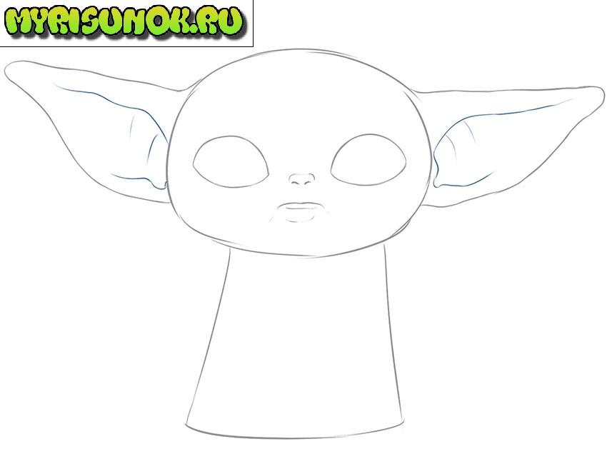 Рисуем малыша Йода 5