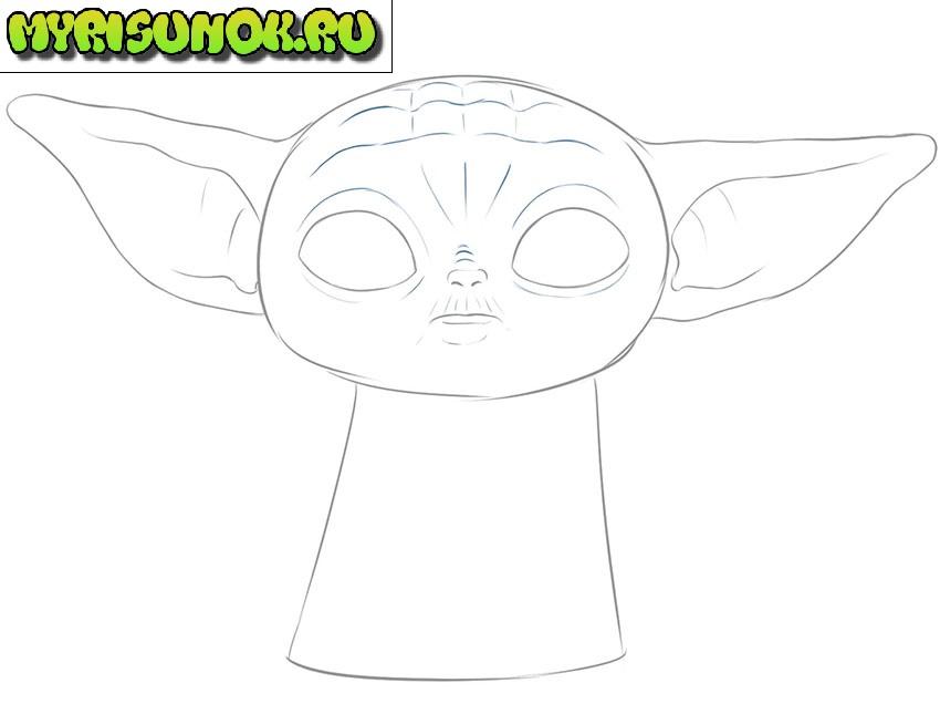 Рисуем малыша Йода 6