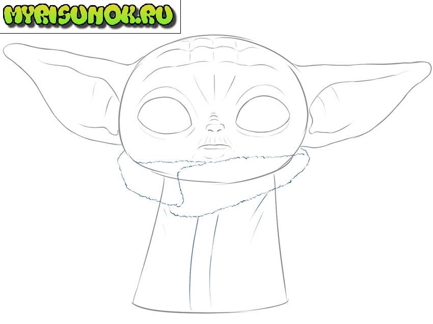 Рисуем малыша Йода 7