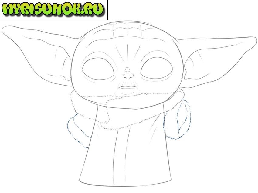 Рисуем малыша Йода 8