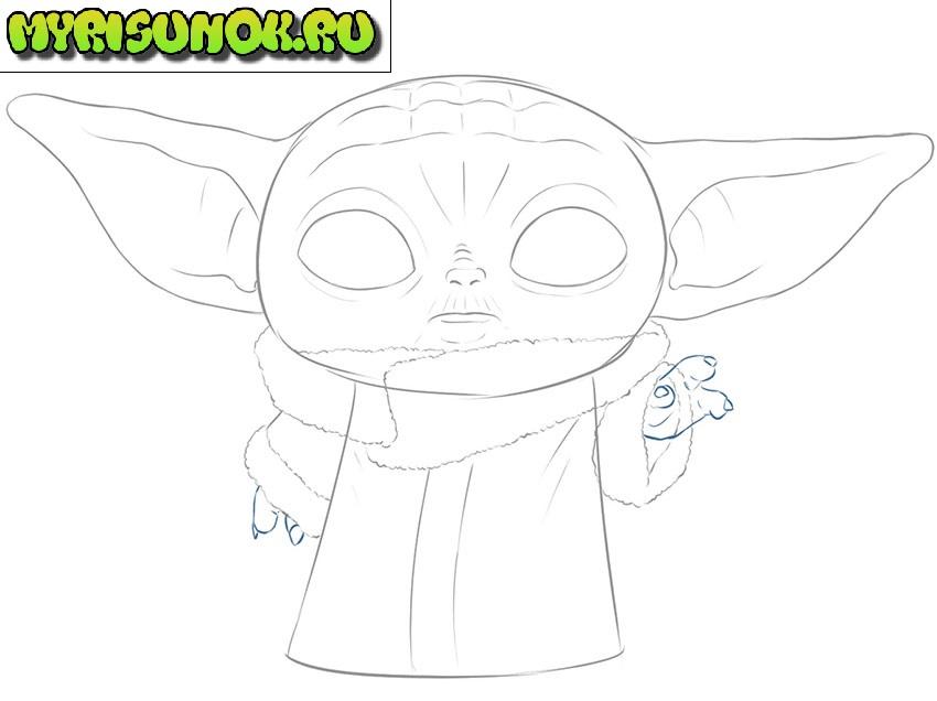 Рисуем малыша Йода 9
