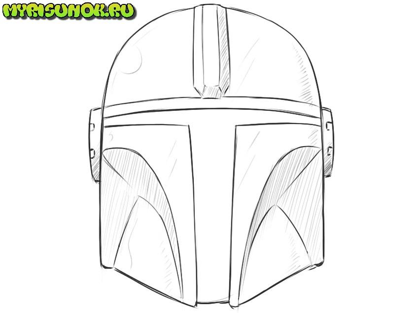 Рисуем шлем Мандалорца 10