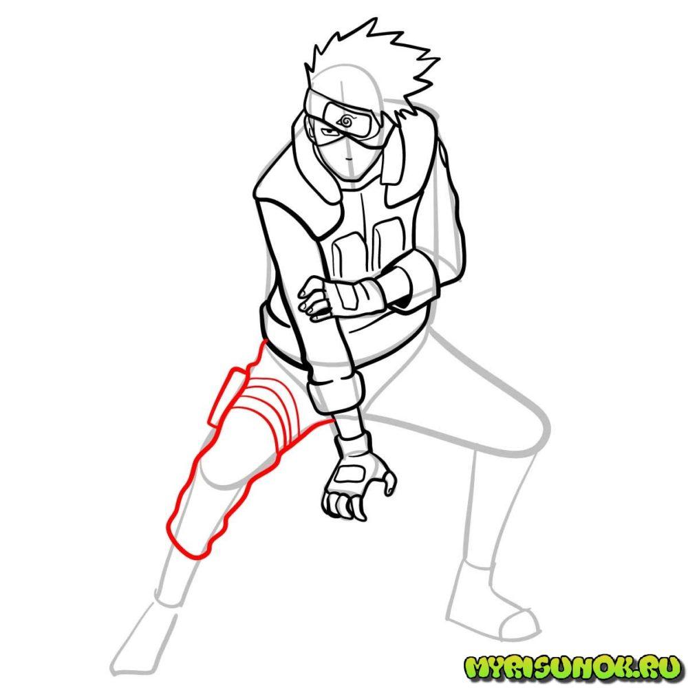 Рисуем Какаши из аниме 11
