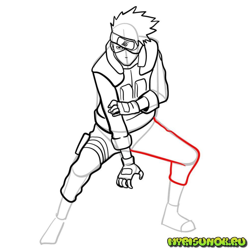 Рисуем Какаши из аниме 12