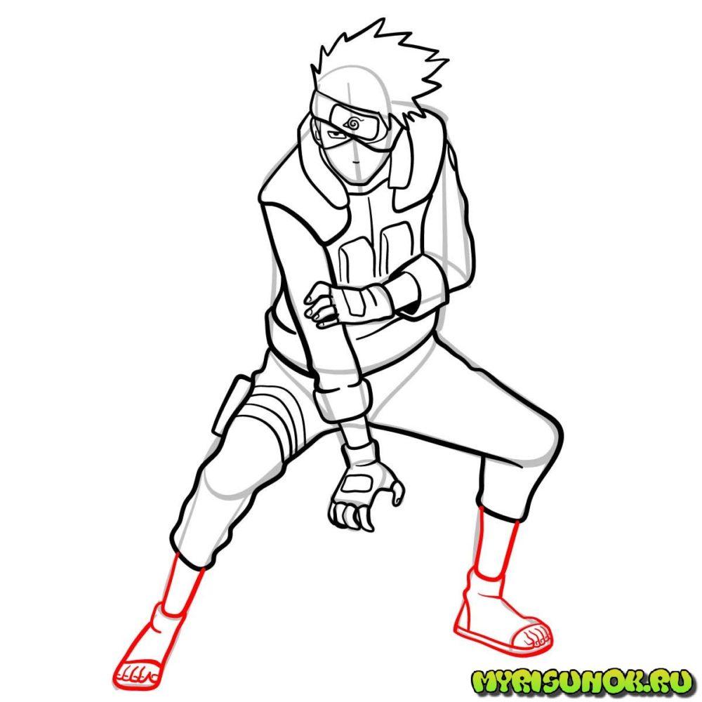 Рисуем Какаши из аниме 13