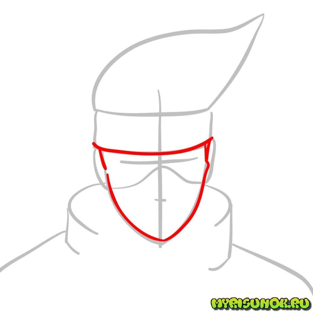 Как нарисовать сенсея Какаши 3