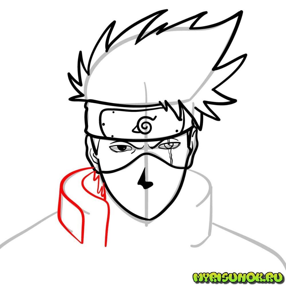Как нарисовать сенсея Какаши 8