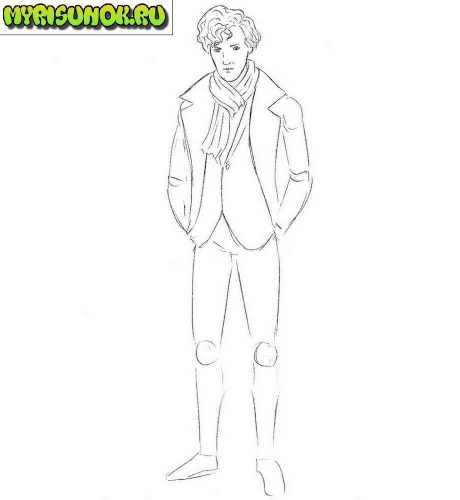 как нарисовать Шерлока из сериала 6
