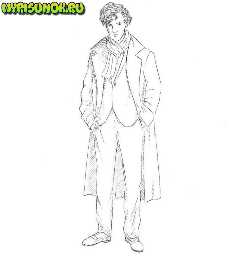 как нарисовать Шерлока из сериала 9