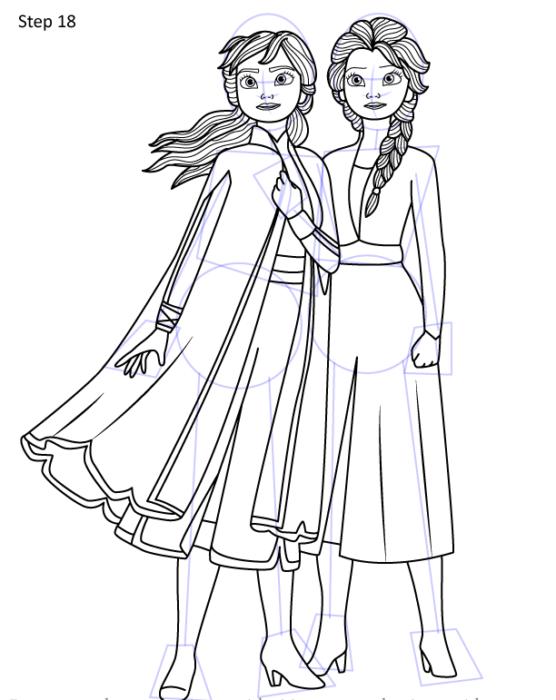 Рисуем Анну и Эльзу