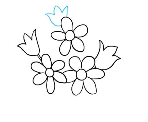 как нарисовать букет цветов 5