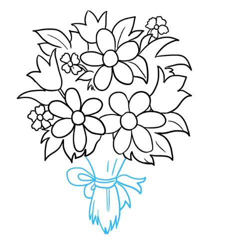 как нарисовать букет цветов 9