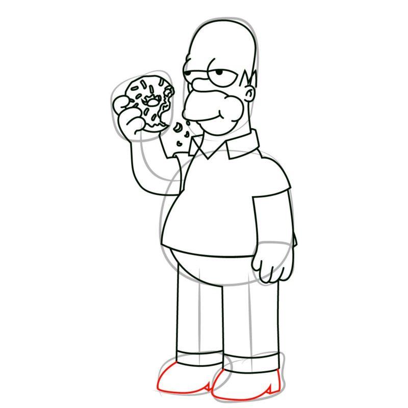 как нарисовать гомера Симпсона 10