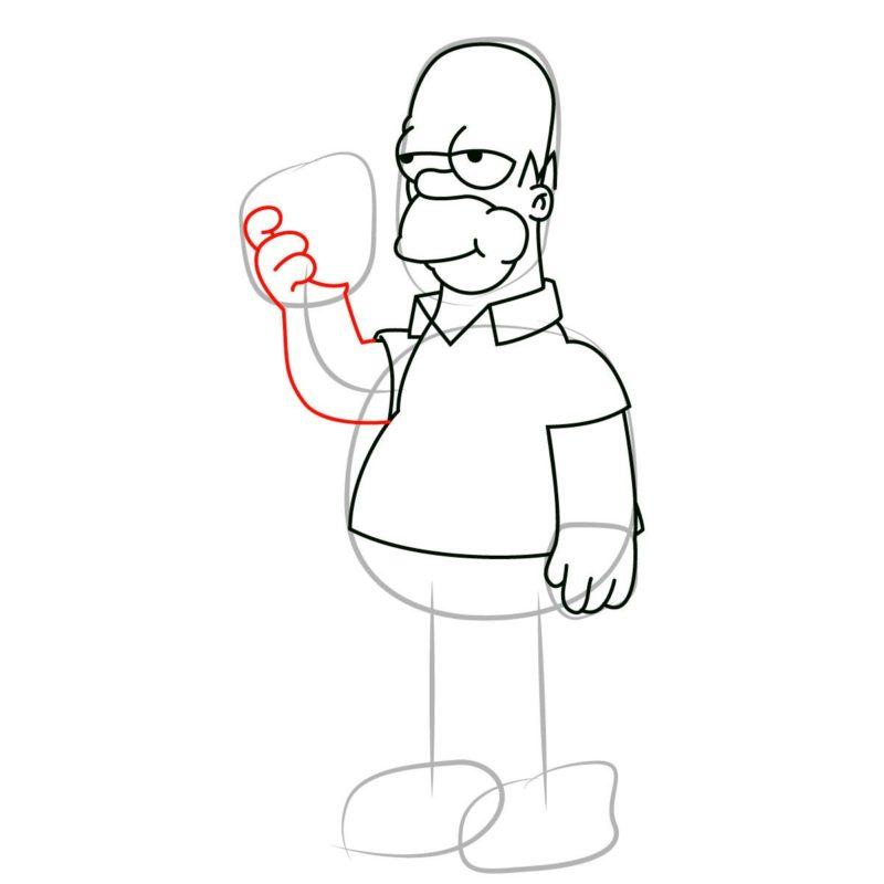как нарисовать гомера Симпсона 7