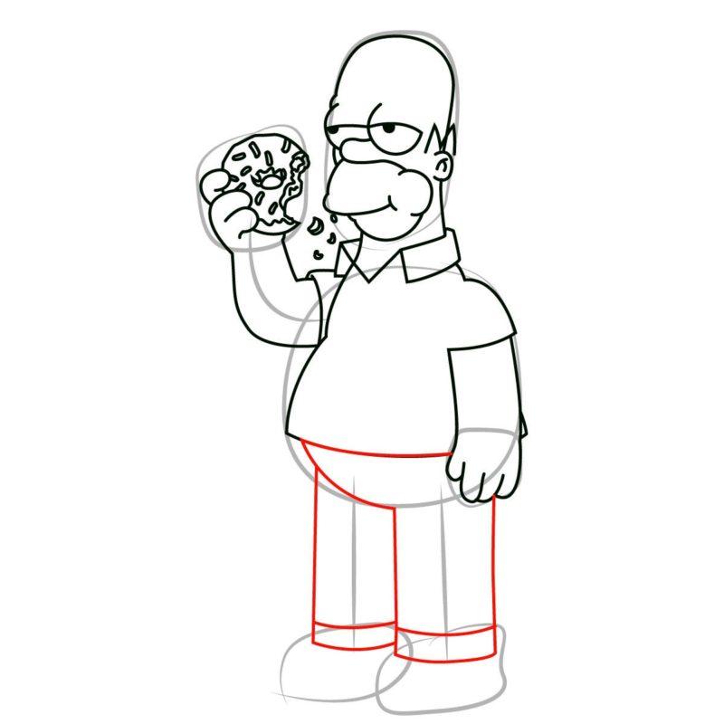 как нарисовать гомера Симпсона 9