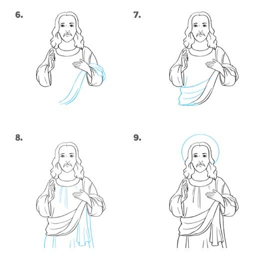 как нарисовать иисуса 1