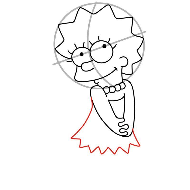 Как нарисовать Лизу Симпсон 6