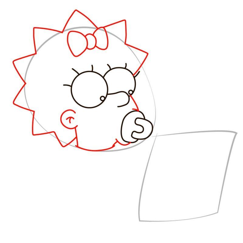как нарисовать мэгги симпсон 3