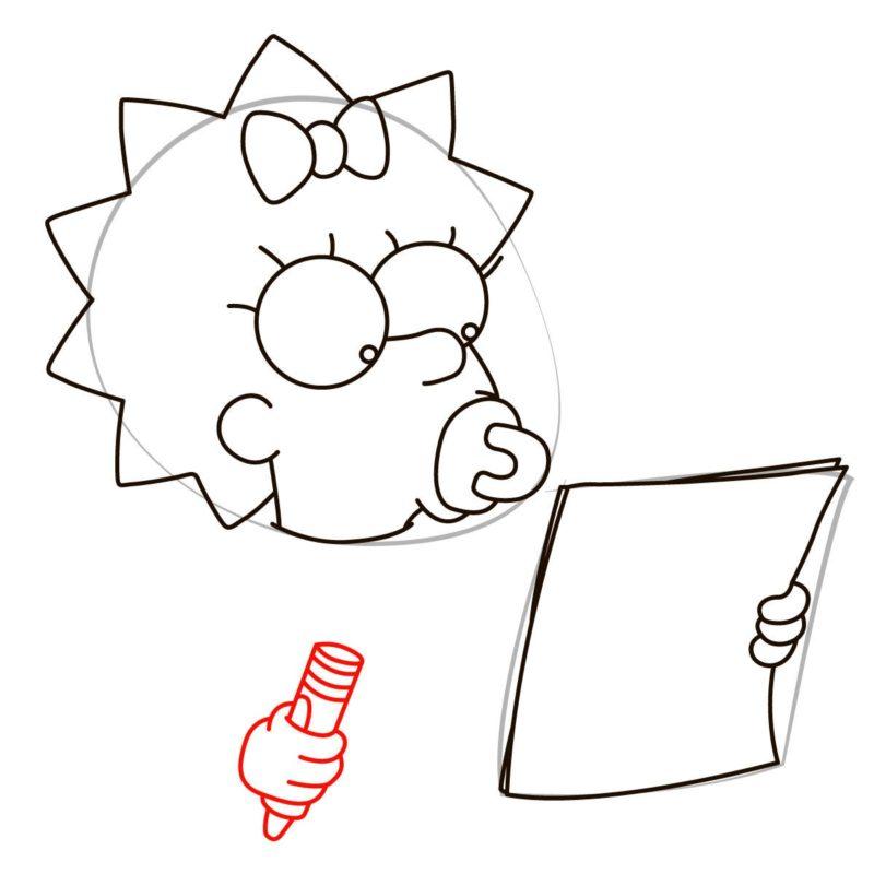как нарисовать мэгги симпсон 5