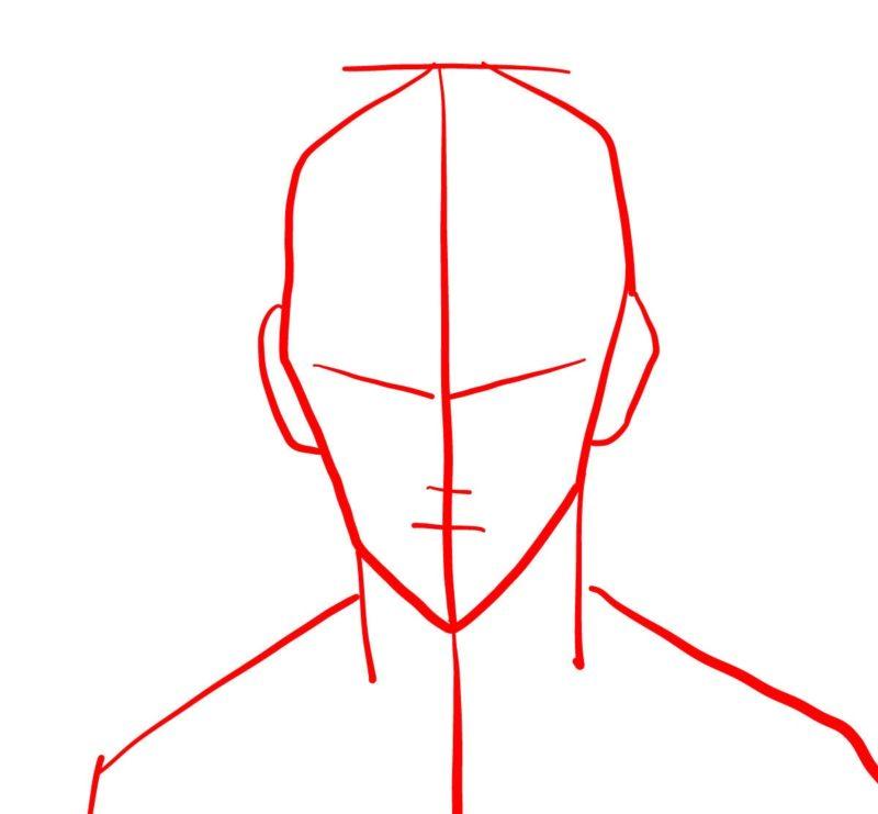 Рисуем лицо Сайтамы 1