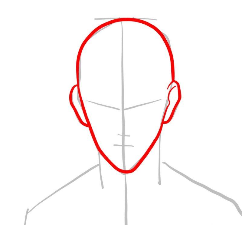 Рисуем лицо Сайтамы 2