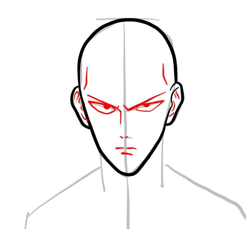Рисуем лицо Сайтамы 3